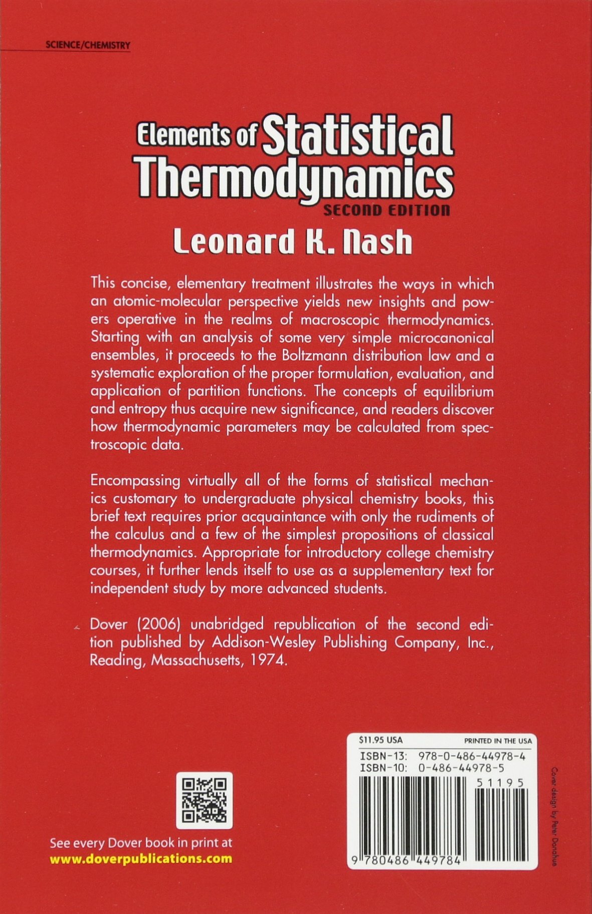 Elements of Statistical Thermodynamics: Second Edition (Dover Books on  Chemistry): Leonard K. Nash: 9780486449784: Amazon.com: Books