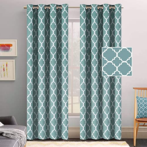 Flamingo P Thermal Insulated Blackout Curtains Living Room Curtains 2 Panel Sets Window Curtains 96 inch Length Energy Efficient Grommet Window Curtain Panels Smoke Blue Pattern