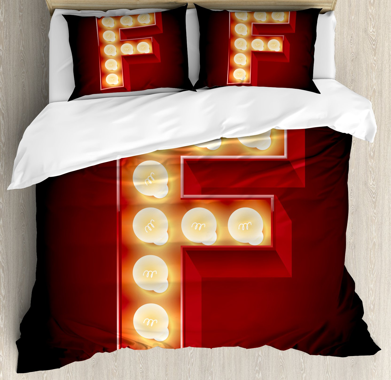 Letter F King Size Duvet Cover Set by Ambesonne, Capital F Typescript Nightlife Disco Clubs Casino Movie Theater Font Print, Decorative 3 Piece Bedding Set with 2 Pillow Shams, Ruby Yellow Black