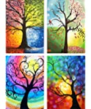 "Leyzan 4 Pack 5D Diamond Painting Four Season Life Trees Full Drill Paint with Diamond Art, DIY Abstract Tree Painting by Number Kits Cross Stitch Wall Home Decor 30x40cm (12""x16"")"
