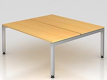 Double bureau u de pied rectangulaire cm hêtre amazon