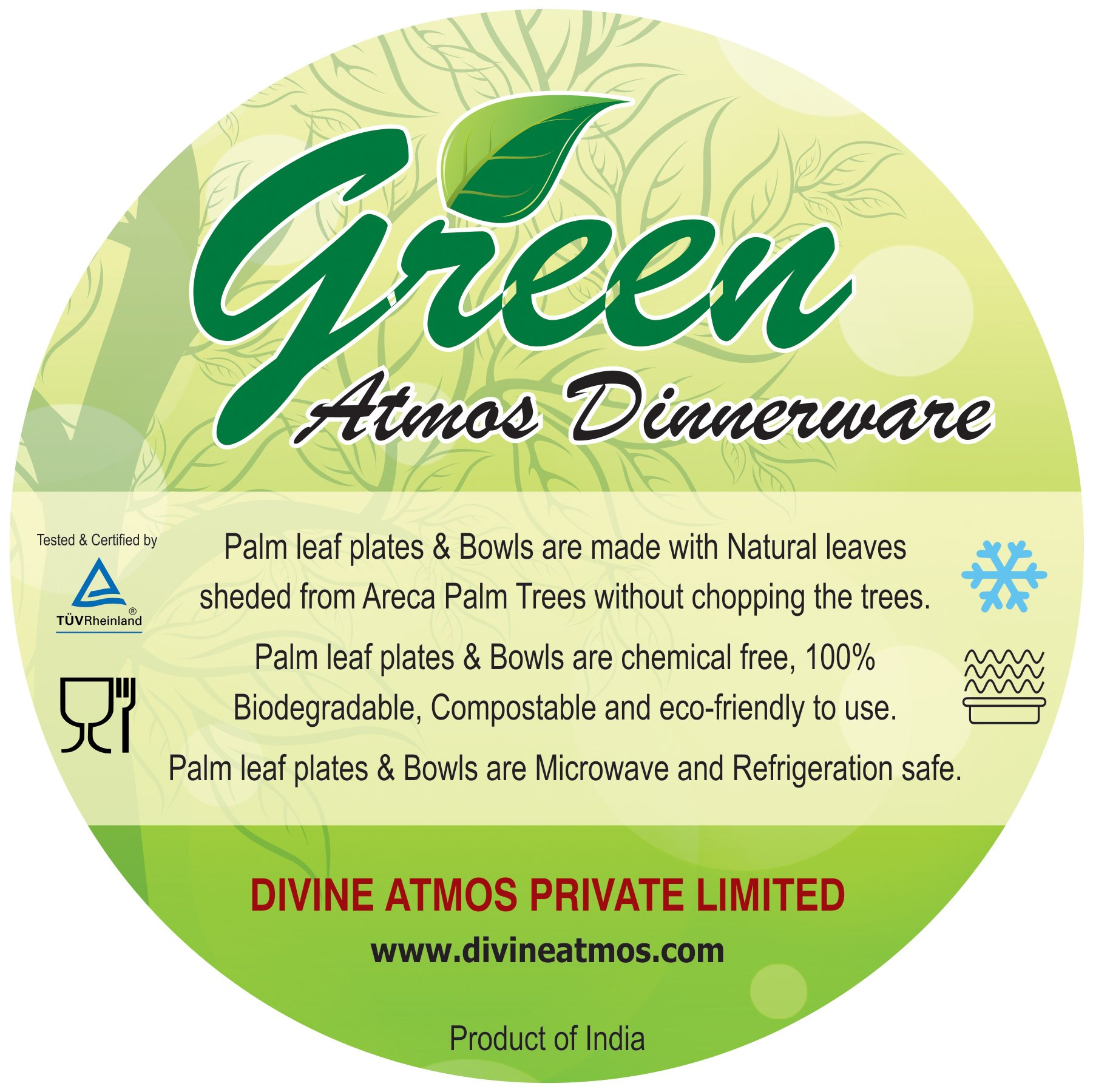 GREEN ATMOS 100 PACK - 6'' SQUARE TEA / DESSERT / SIDE PLATE BIODEGRADABLE, COMPOSTABLE AND ECO-FRIENDLY DISPOSABLE ARECA PALM LEAF PLATES