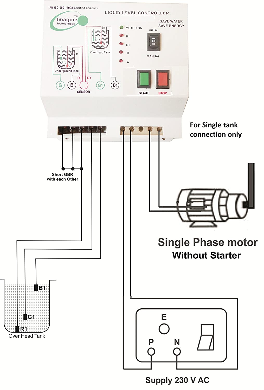 81H5ilD4wxL._SL1500_ fully automatic water level controller with up and down tank ellico water level controller wiring diagram at fashall.co