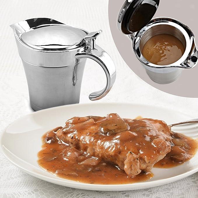 Zola doble aislamiento de acero inoxidable Salsera/Salsa jarra - con ABS cubierta de plástico con tapa y asa 14 oz capacidad mantener para salsa y salsas ...