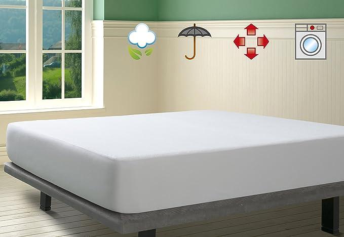 SAVEL, Protector de colchón Impermeable, Rizo 100% algodón ...