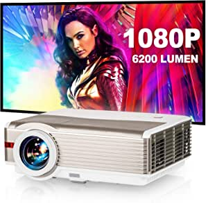 Video Projector 4200 Lumen Outdoor Backyard Theater System Full HD 1080P Support LCD LED Multimedia WXGA Home Cinema Theatre Projector with HDMIx2 USBx2 VGA 3.5mm Audio,10W Speaker, Keystone,Zoom