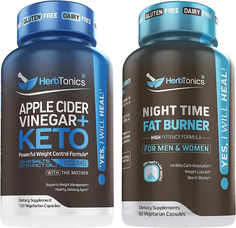 5X Potent Apple Cider Vinegar with Keto + Night Time Fat Burner for Men & Women