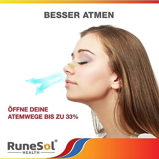 Tiras nasales / tiras nasales grandes (60 tioras) de RuneSol, para una mejor respiración / Ajuste Breathe para anti-ronquidos | suficientes curitas para 2 ...