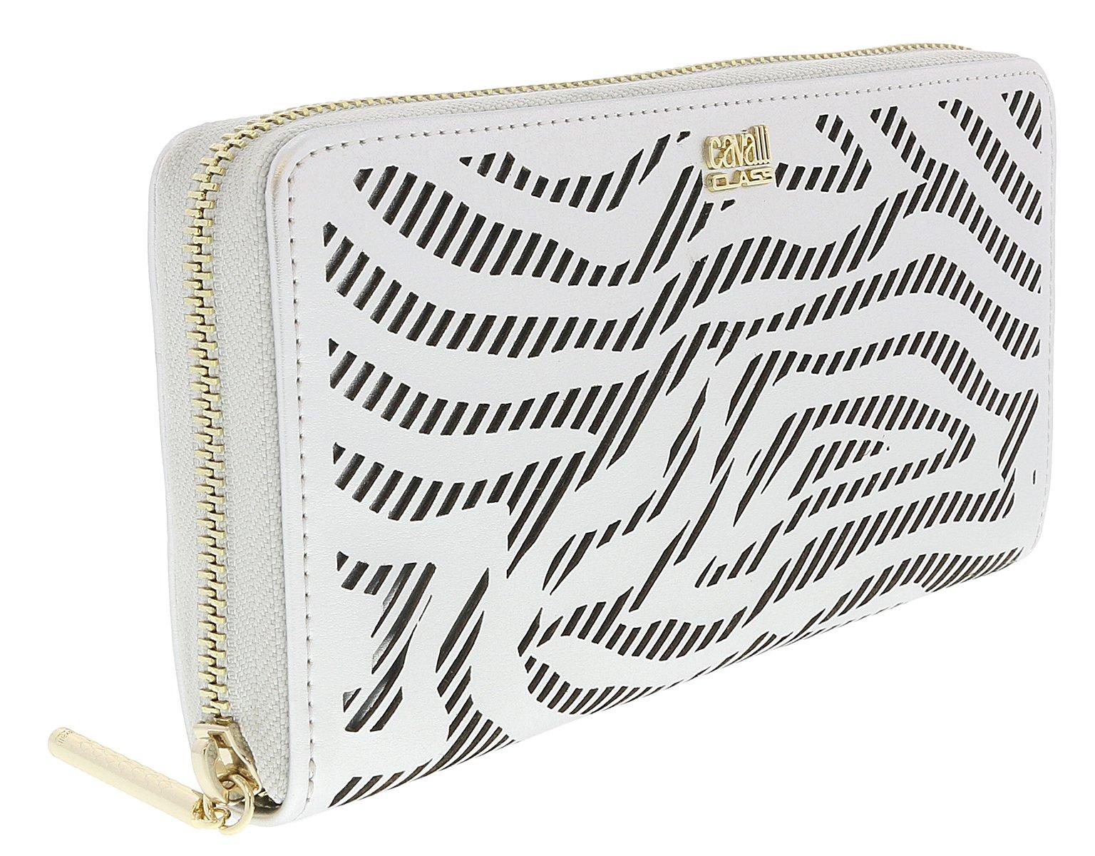 Roberto Cavalli GQLPA3 101 Silver Audrey Long Size Wallet W/Zipper for Womens