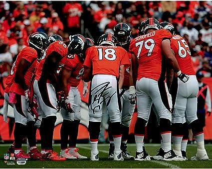 Peyton Manning Denver Broncos Autographed 16 quot  x 20 quot  Orange Huddle  Photograph - Fanatics Authentic f9e51d0a3