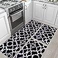 Jogo Tapete de Cozinha Geométrico Preto Kit Com 3 Peças Antiderrapante Arabesco