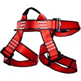 Climbing Harness, Newdoar Women Man Child Half Body Safe Seat Belts For Mountaineering Rock Climbing,Mountaineering Outward Band Fire Rescue, Expanding Training,Rappelling Gear Red