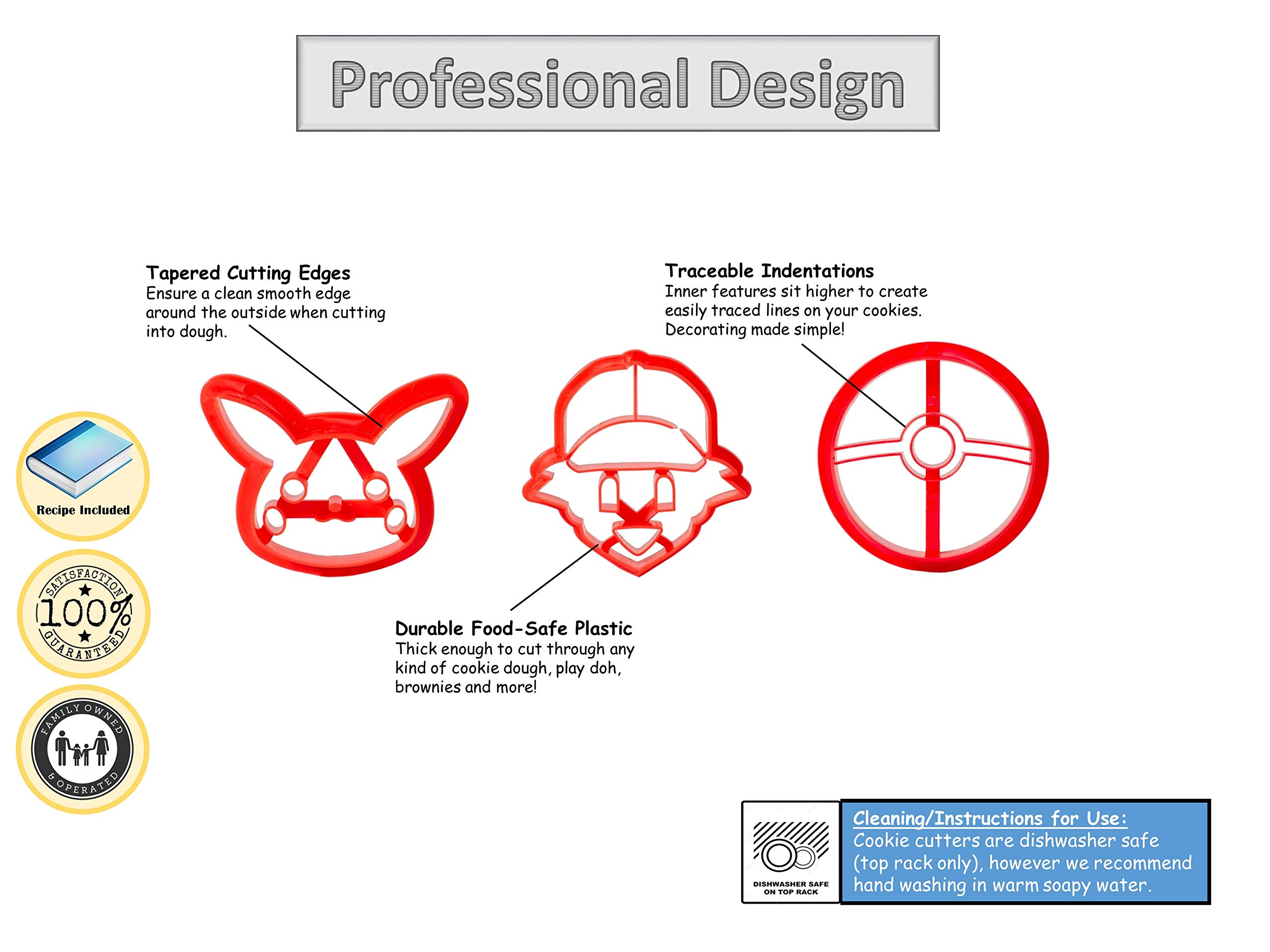 3-Pack Pokemon Cookie Cutters | Pokeball, Ash, Pikachu | Special Edition by cookiemoji baking co. (Image #2)