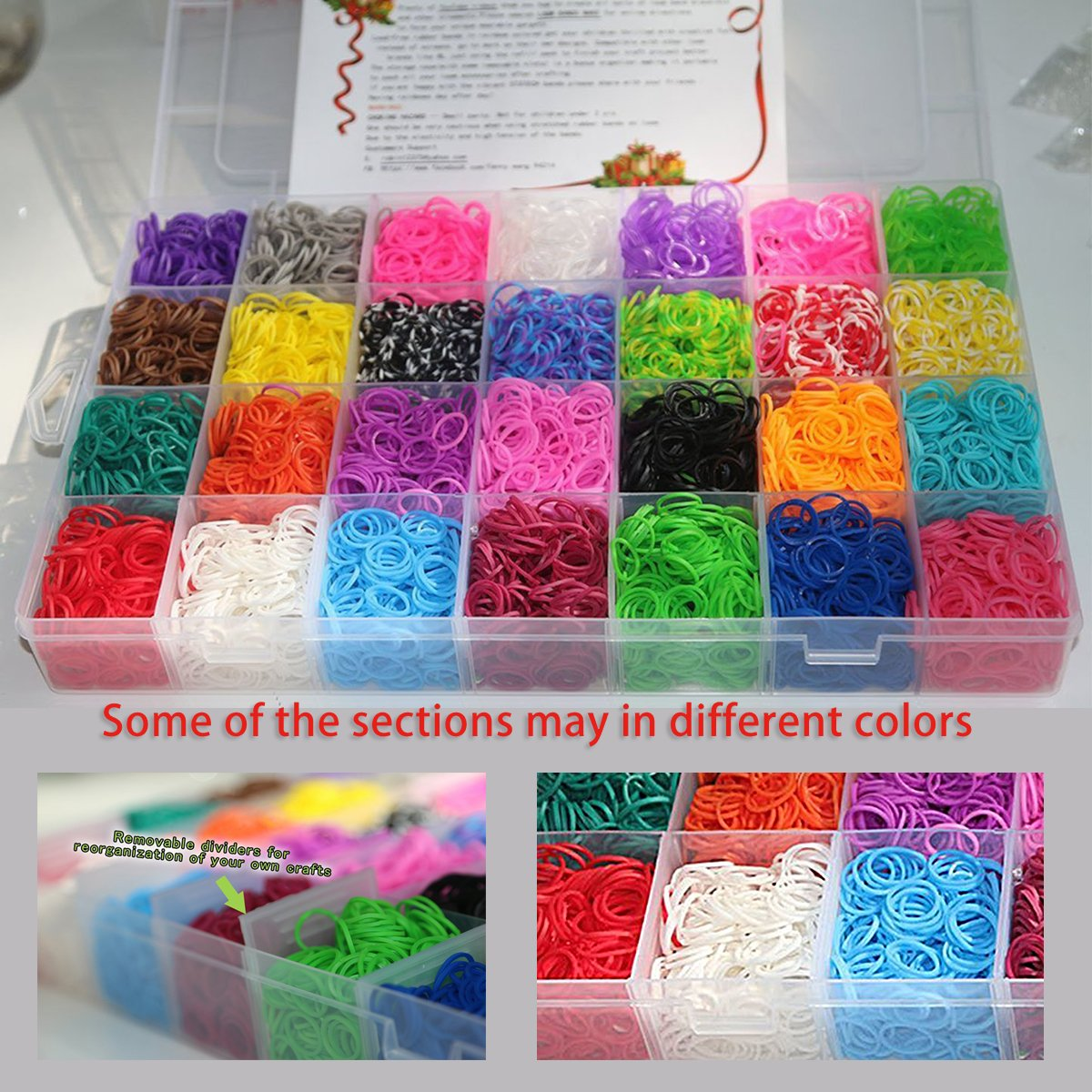 XMAS Present Set in Rainbow Color 10,000 Rubber Bands Refill Pack Colorful Loom Kit Organizer for Kids Bracelet Weaving DIY Crafting with Crystal-like Charms,500 S-Clips,Mini Hook and 175 Beads