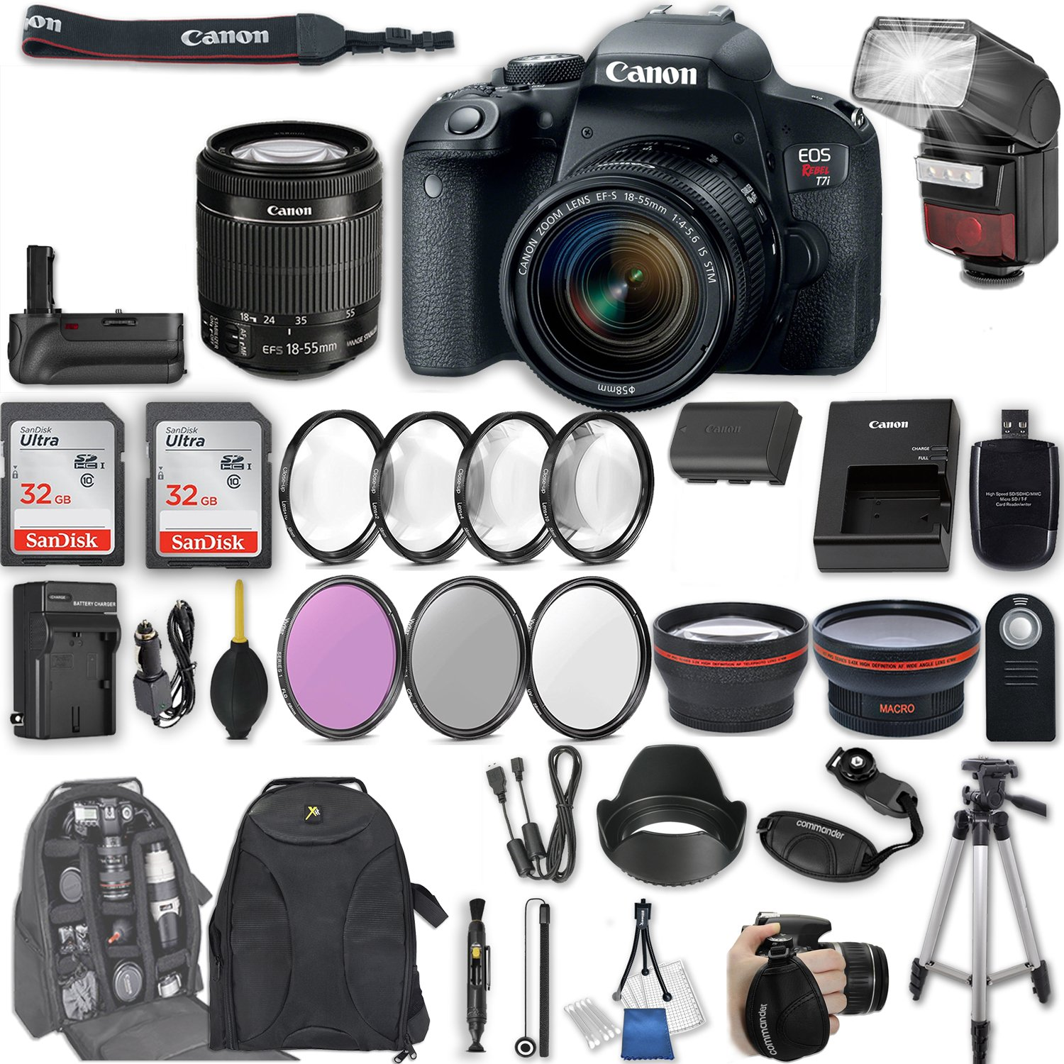 Canon EOS Rebel T7i DSLR Camera with EF-S 18-55mm f/4-5.6 IS STM Lens + 2Pcs 32GB Sandisk SD Memory + Automatic Flash + Battery Grip + Filter & Macro Kits + Backpack + 50'' Tripod + More