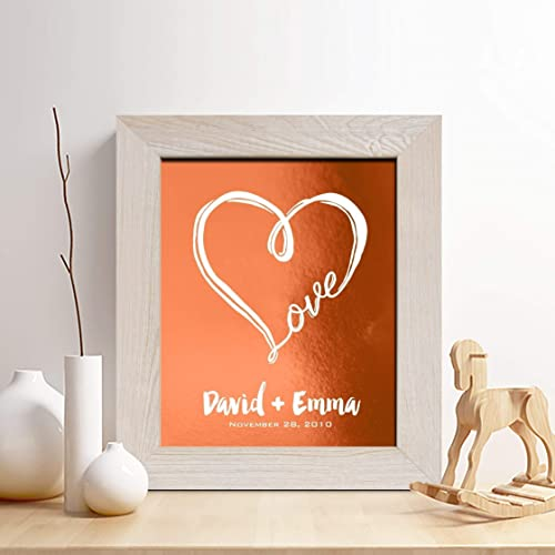 Personalized 7th or 22nd Copper Anniversary Gift for Him or Her, Special Date Print,