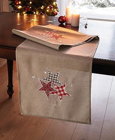 Tischlaufer Roter Stern Tischdeko Weihnachten Tischdecke Winter