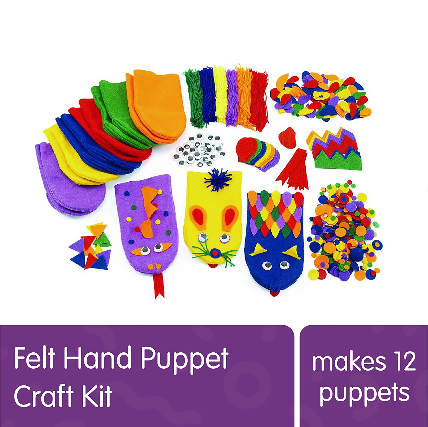 B01HZMQ5HC Colorations Felt Imaginary Hand Puppet Craft Kit for Kids, Makes 12 Puppets, Googly Eyes, Dragons, Dramatic Play, Imagination, Creatures, Role Play, Learning, Creativity 81H5tQw60nL