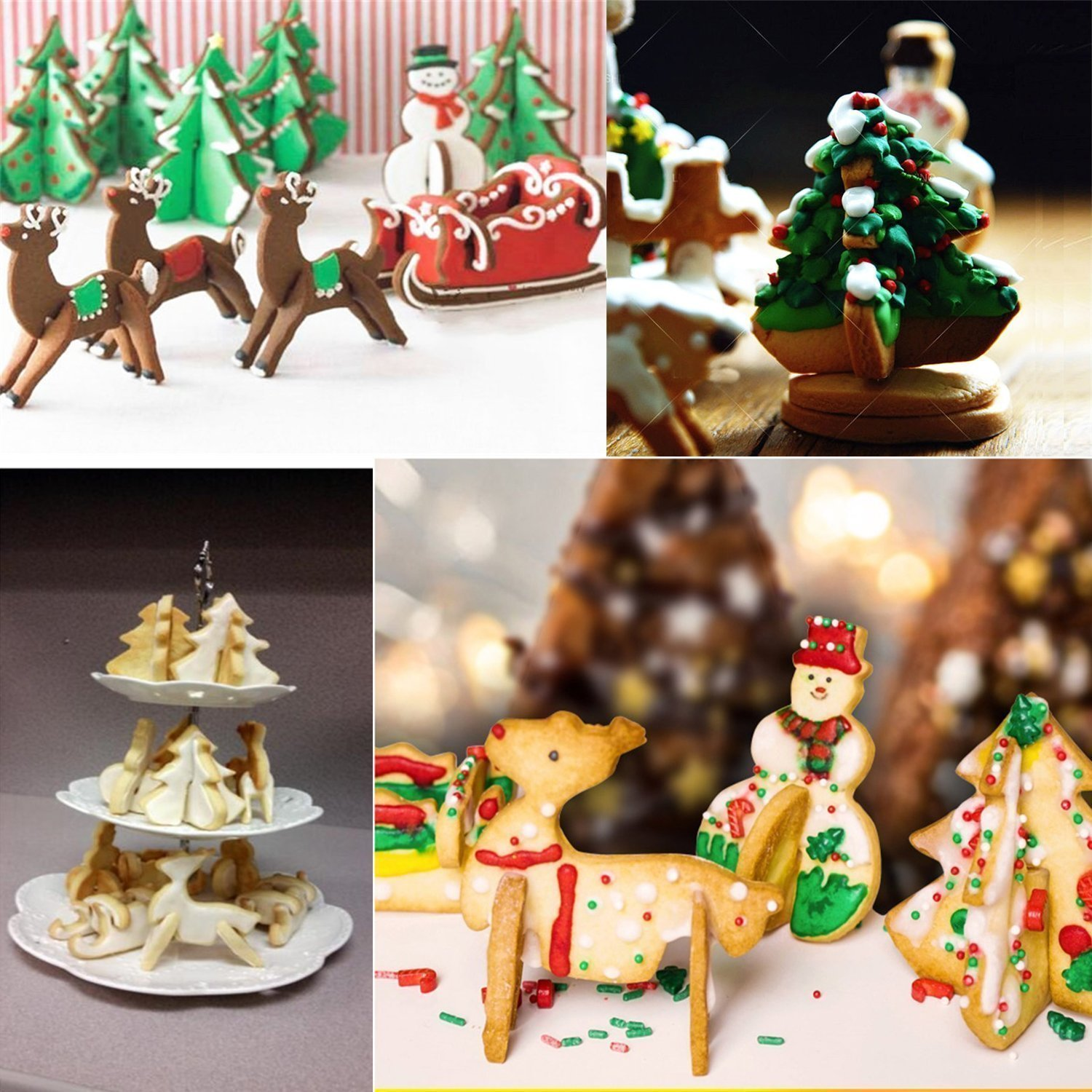 Christmas/ Holiday Cookie Cutter Set, 8 Pcs DIY 3D Scenario Cookie Cutters Tool Stainless Steel Cutters including Snowman, Chritmas tree, Christmas elk and Sledge