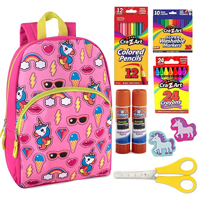 9d25a798100f Unicorn Kids Backpack for Boys or Girls. 55 Count Crafts Supplies Bundle.   Amazon.ca  Clothing   Accessories