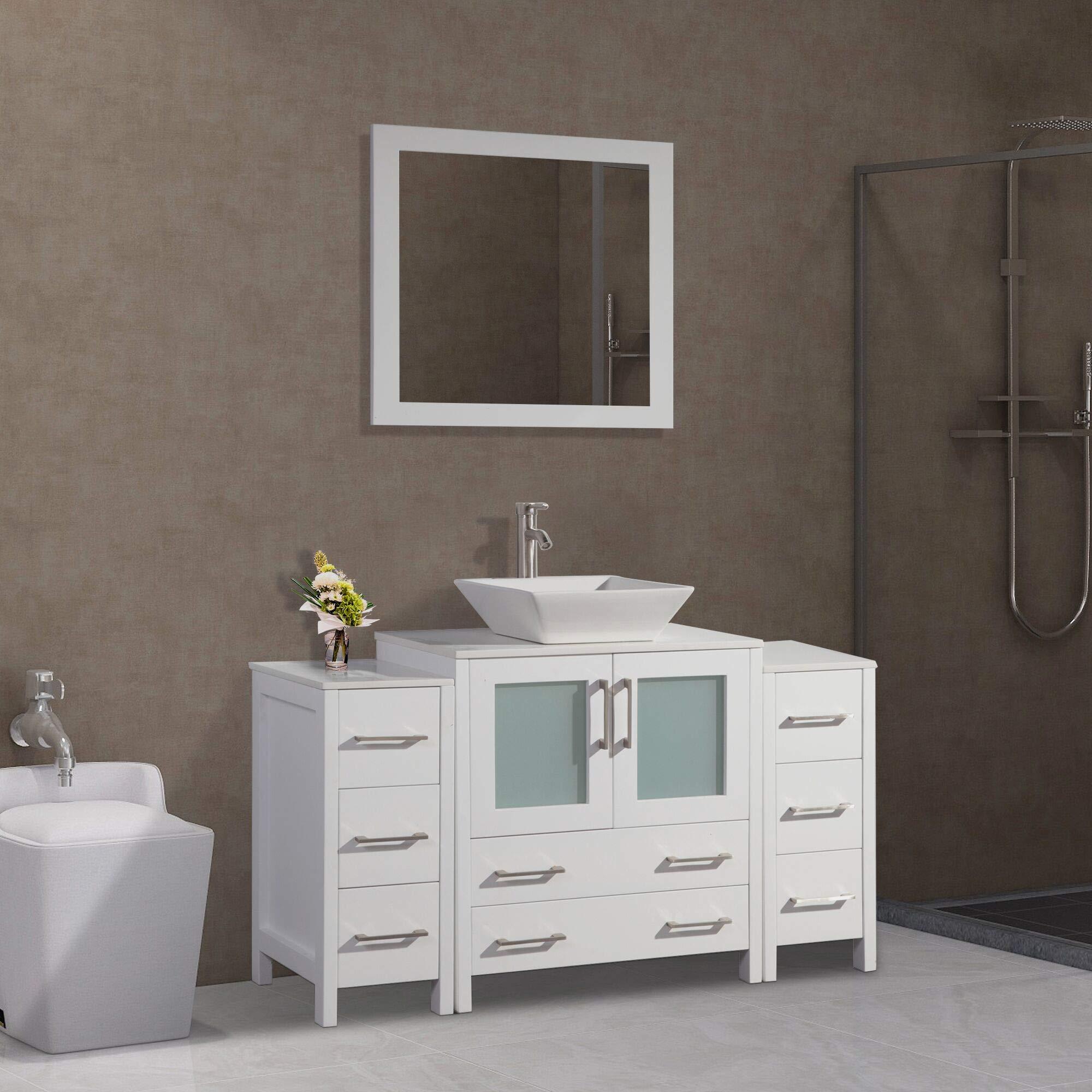 Vanity Art 54 inch Single Sink Bathroom Vanity Combo Set 8 ...