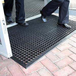 Lovinland Rubber Floor Mat Drainage Anti Fatigue Mat 60 x 35 Inch Commerical Heavy Duty Non-Slip Mat for Resturant Kitchen Bar Garage Garden Indoor Outdoor Industral Use Black