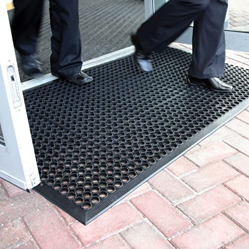 Large Outdoor Rubber Entrance Mats Anti Slip Drainage Door Mat Flooring - 3 Sizes Available (0.9m x1.5m) by BiGDUG