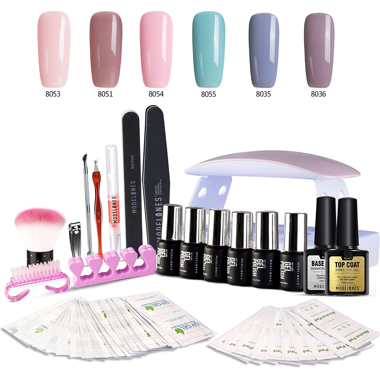 Modelones Gel Nail Polish Starter Kit with 6W LED Lamp Base Top Coat 6 Gels in Tiny Bottles Portable Nail Gel Kit for Travel