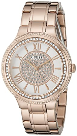 GUESS Womens Stainless Steel Crystal Accented Watch, Color: Gold-Tone (Model: