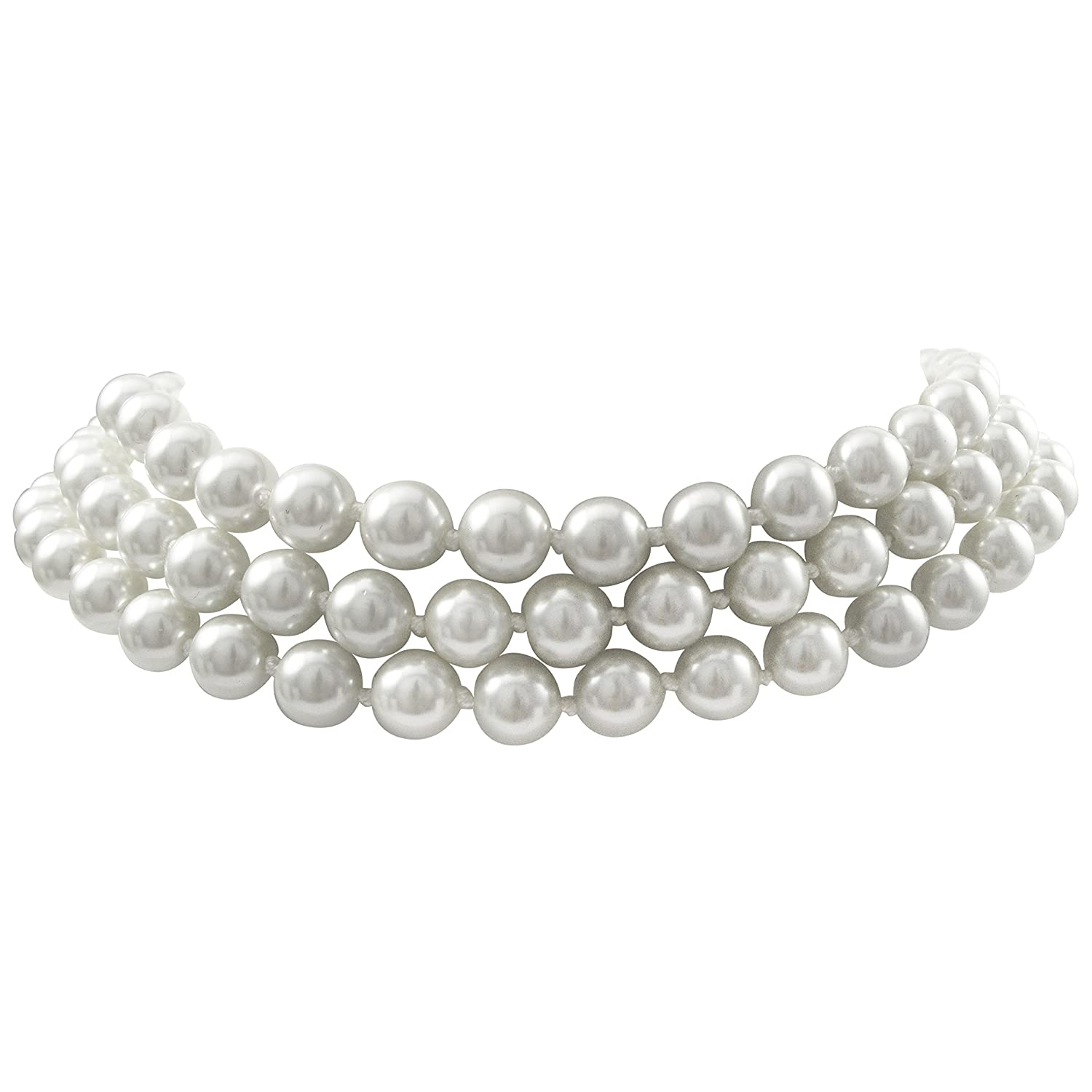 Isaac Kieran Faux Pearl Choker Necklace, Rhodium Finish, 3-Strands - 8-mm Pearls, 14 Inch plus 3 Inch Extender (White) LFN8MM-3R-SR-WhtIK