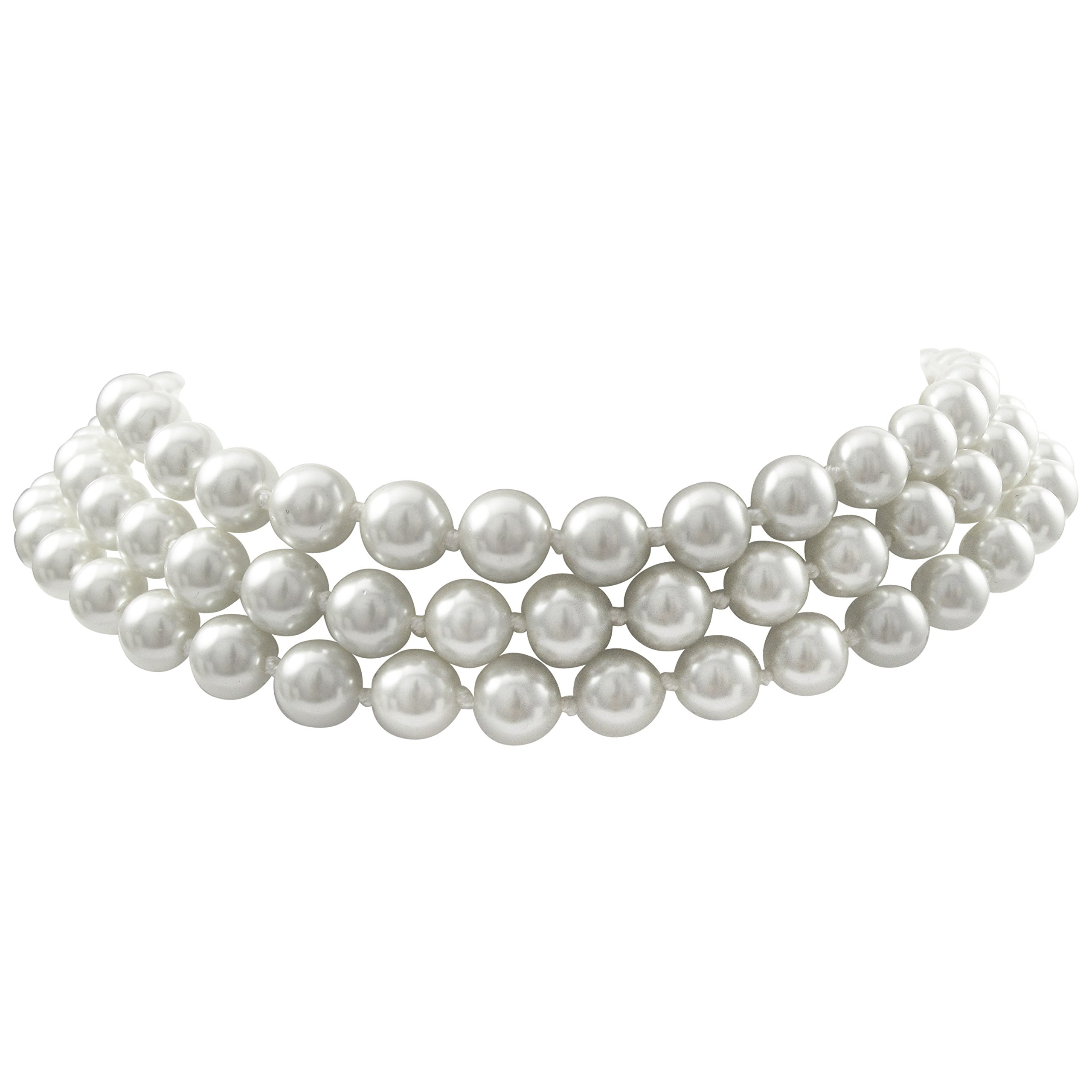 Isaac Kieran Faux Pearl Choker Necklace, Rhodium Finish, 3-Strands - 8-mm Pearls, 14 Inch plus 3 Inch Extender (White)