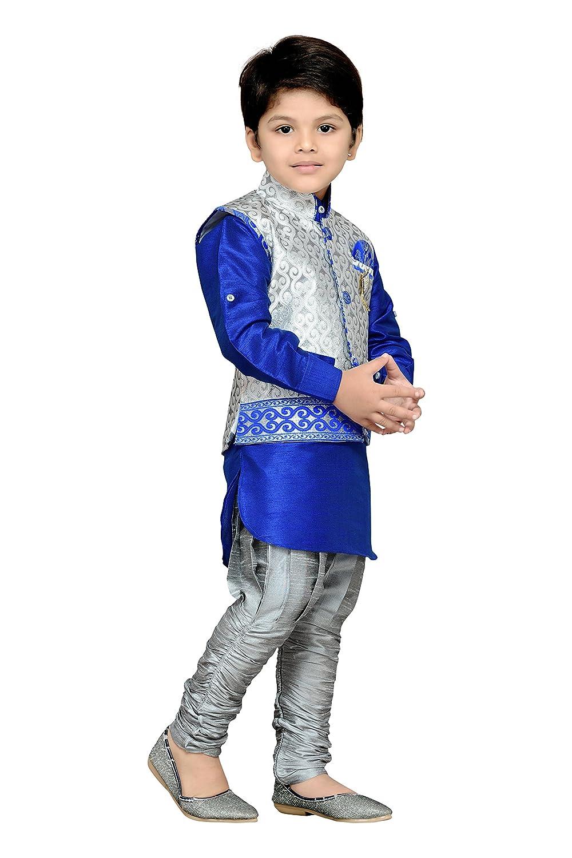 38a2bdd1c7 Amazon.com: AJ Dezines Kids Indian Wear Bollywood Style Kurta Pyjama  Waistcoat for Baby Boys (636-GRAY-0): Clothing