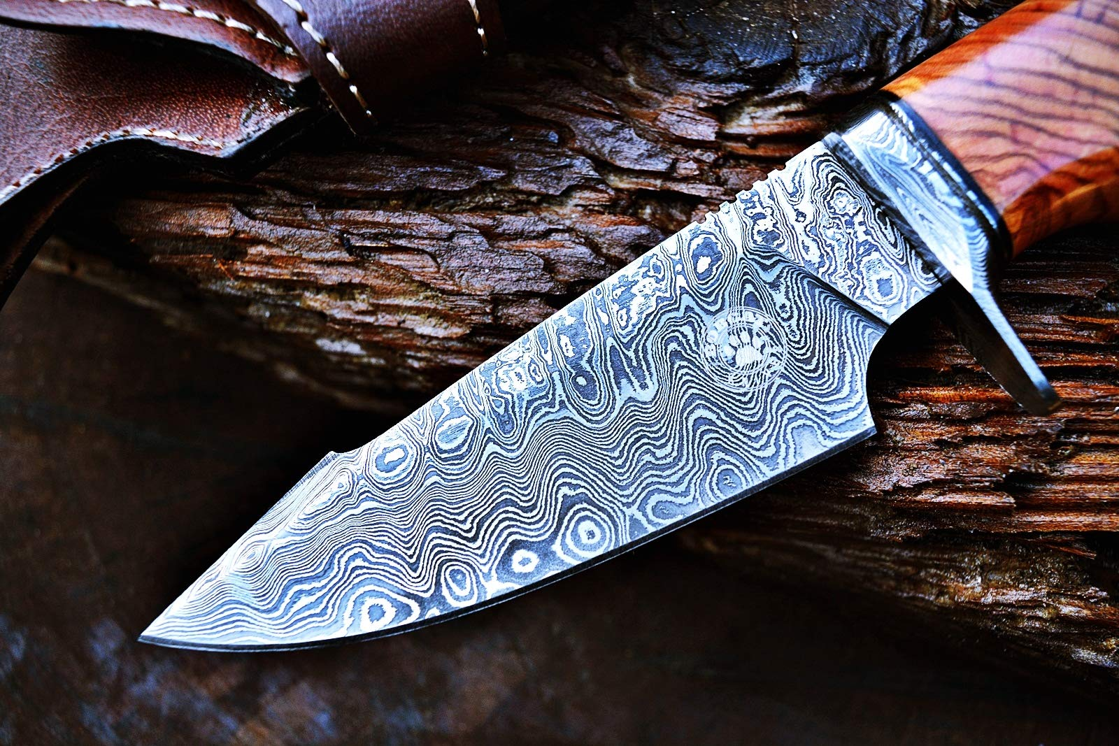 Custom Handmade Hunting Knife Bowie Knife Damascus Steel Survival Knife EDC 10'' Overall Olive Wood with Sheath by Bobcat Knives (Image #8)