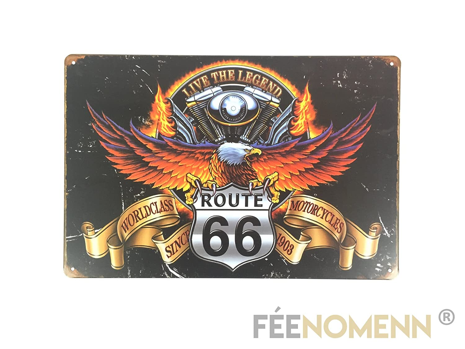 FEENOMENN Plaque Mé tal Dé co Vintage - Aigle Motorcycles Route 66 (20x30cm)