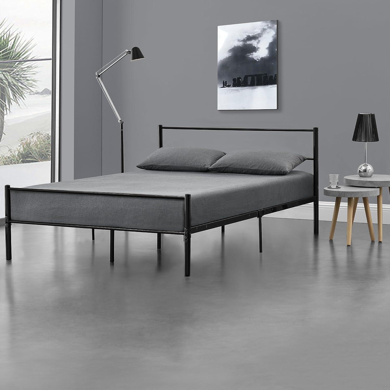 Metallbett 140x200 Schwarz Grau Mit Matratze Design Bett
