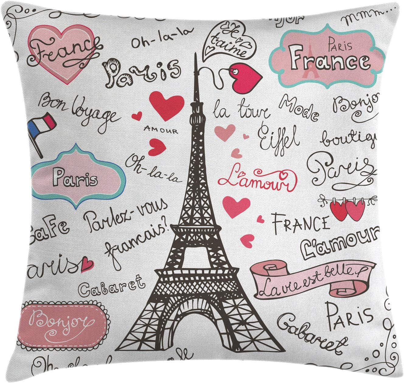 """Ambesonne Eiffel Tower Throw Pillow Cushion Cover, Paris Lettering Heart Shapes Flag Ornamental Sketchy Doodle, Decorative Square Accent Pillow Case, 20"""" X 20"""", Black White"""