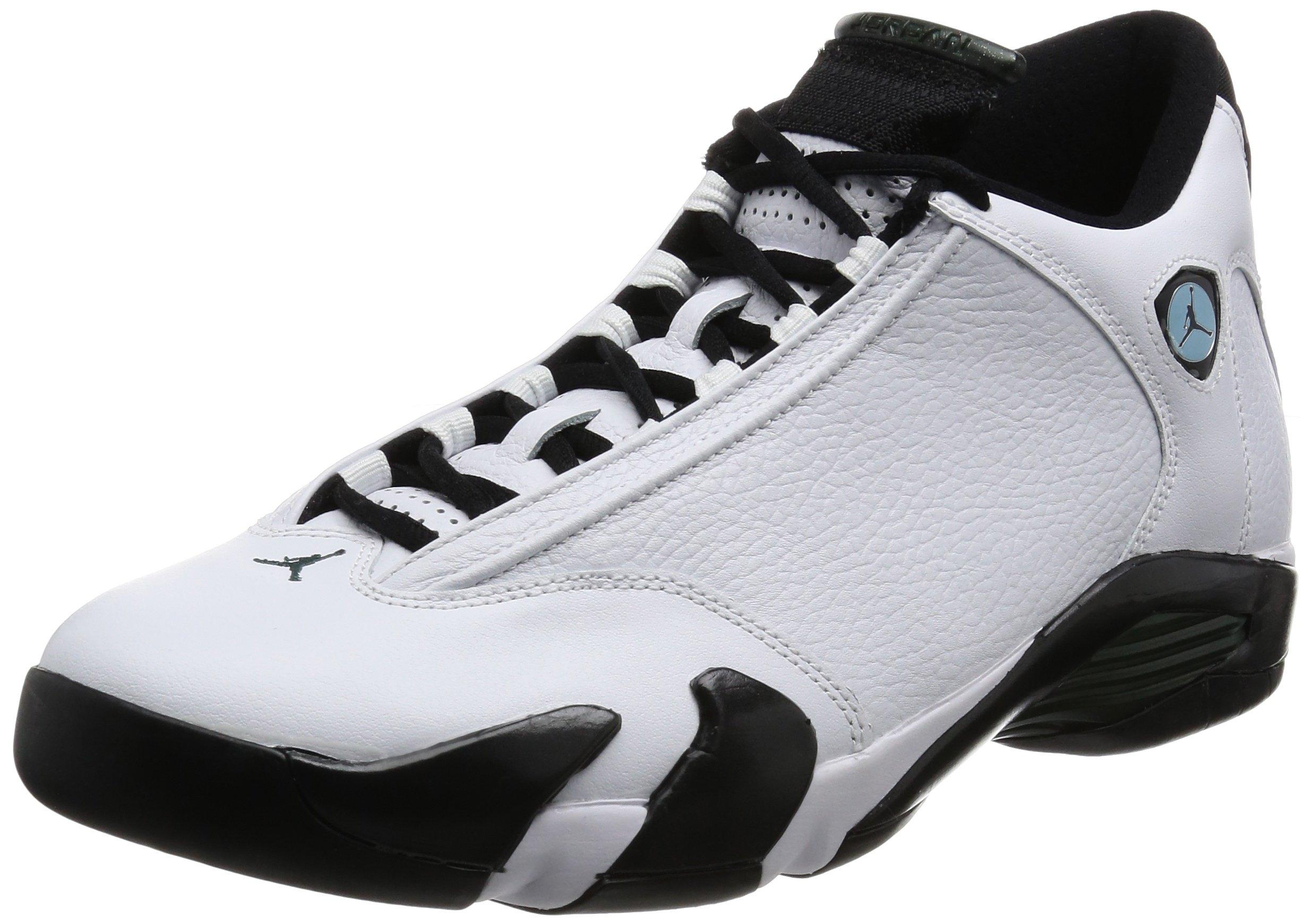 Air Jordan 14 Retro Mens Shoes White/Black/Green/Legend Blue 487471-106 (10 D(M) US) by Nike