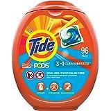 Tide PODS Laundry Detergent Soap PODS, High Efficiency (HE), Clean Breeze Scent, 96 Count