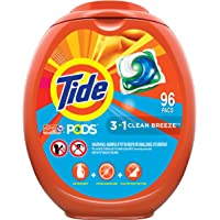 Tide PODS Laundry Detergent Soap PODS, High Efficiency (HE), Clean Breeze Scent, 96 Count (Packaging May Vary)
