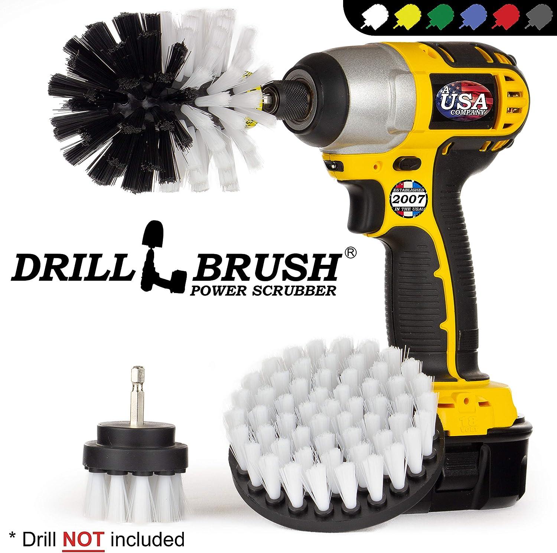 "1 Harder,1 Softer Bristle Brush Carpet Mat 5/"" Round Power Drill Attachment"