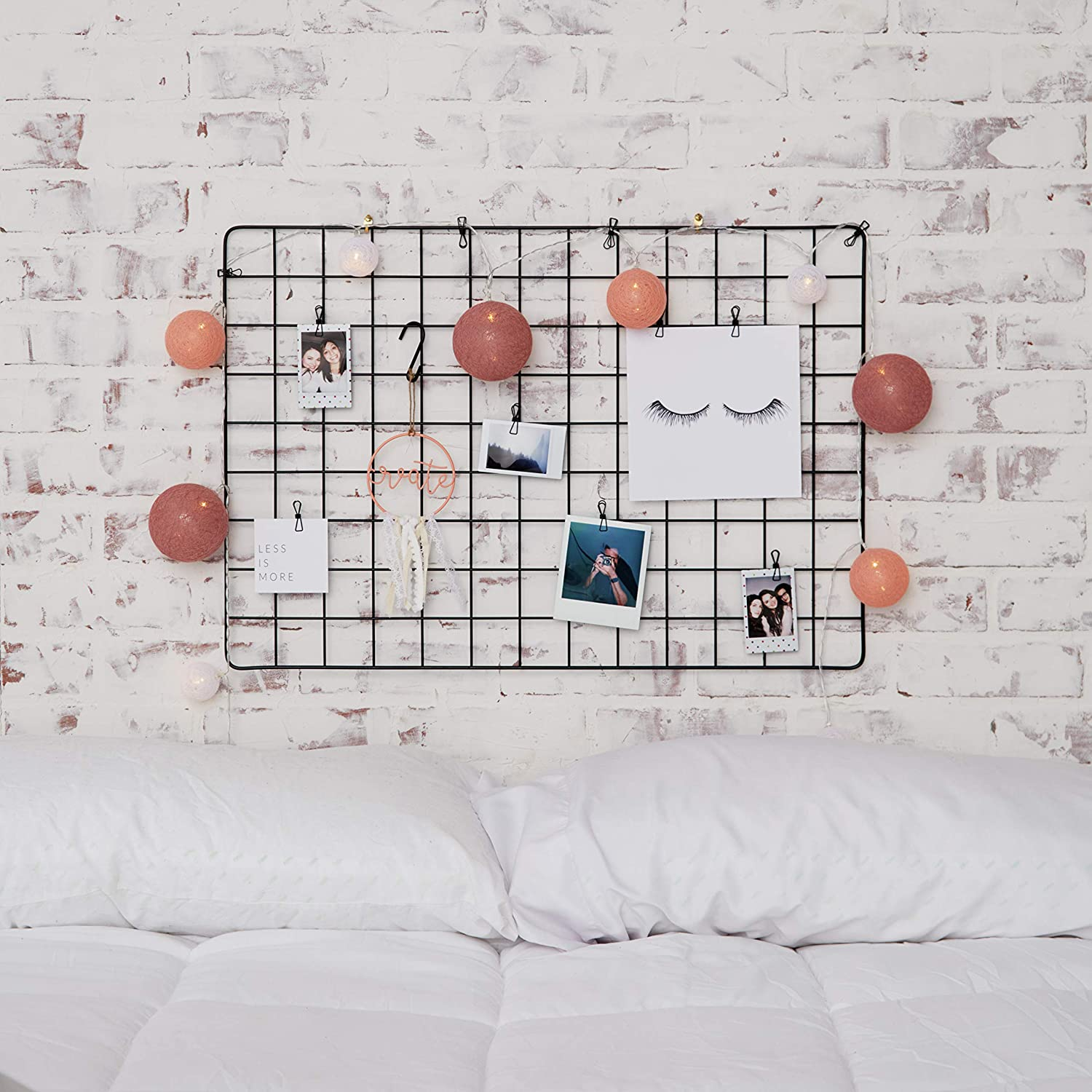 Set of 2 Fourberry Wire Wall Grid Panel for Photo Display 25.6x17.7in