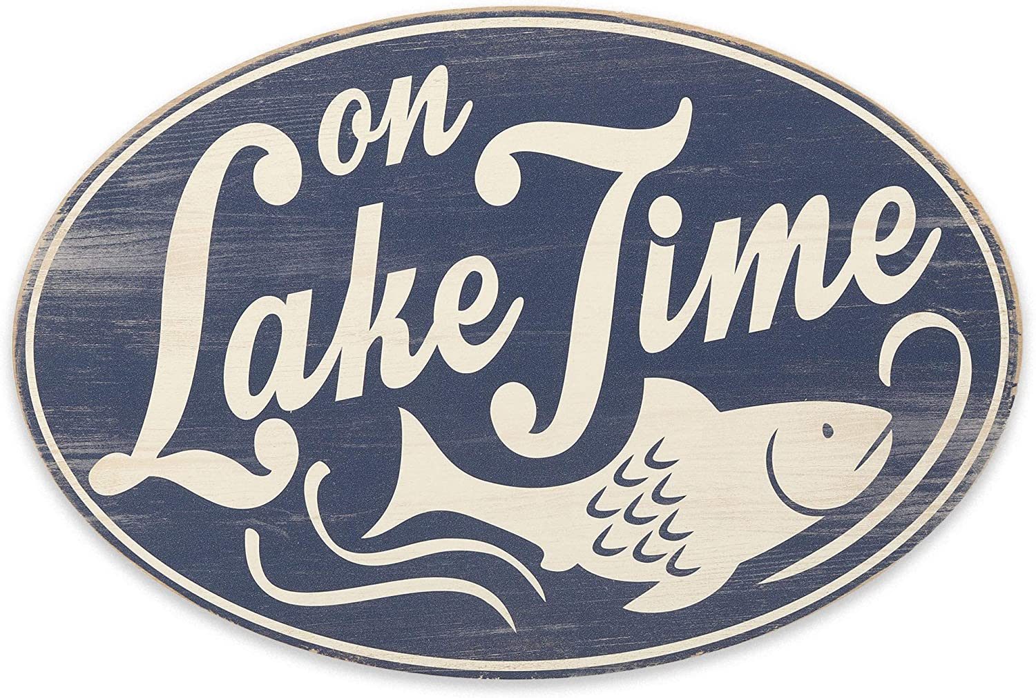 Open Road Brands On Lake Time Wood Wall Decor for Lake House, Man Cave, or Living Room