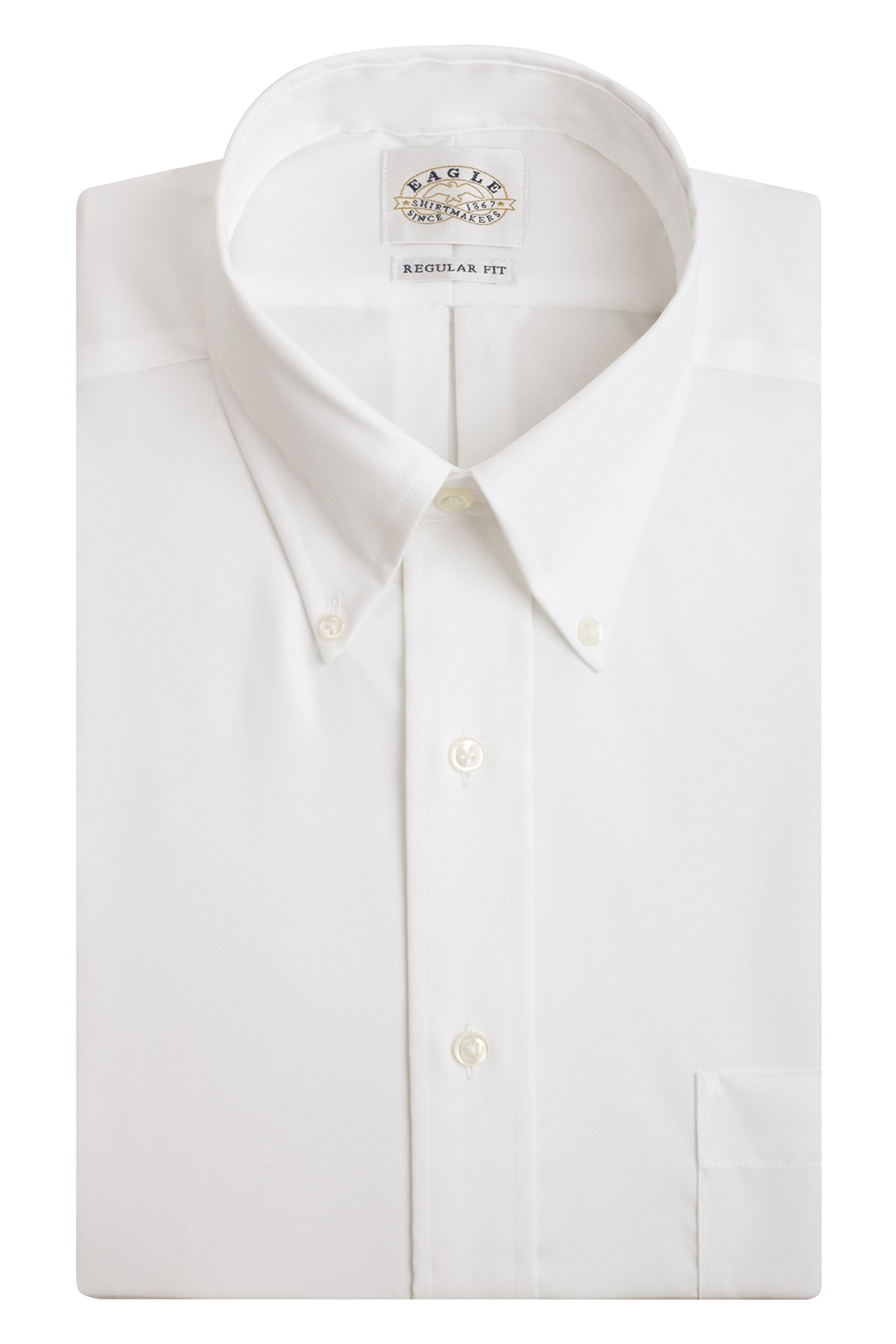 Eagle Men's Non Iron Regular Fit Solid Button Down Collar Dress Shirt, White, 16.5'' Neck 36''-37'' Sleeve