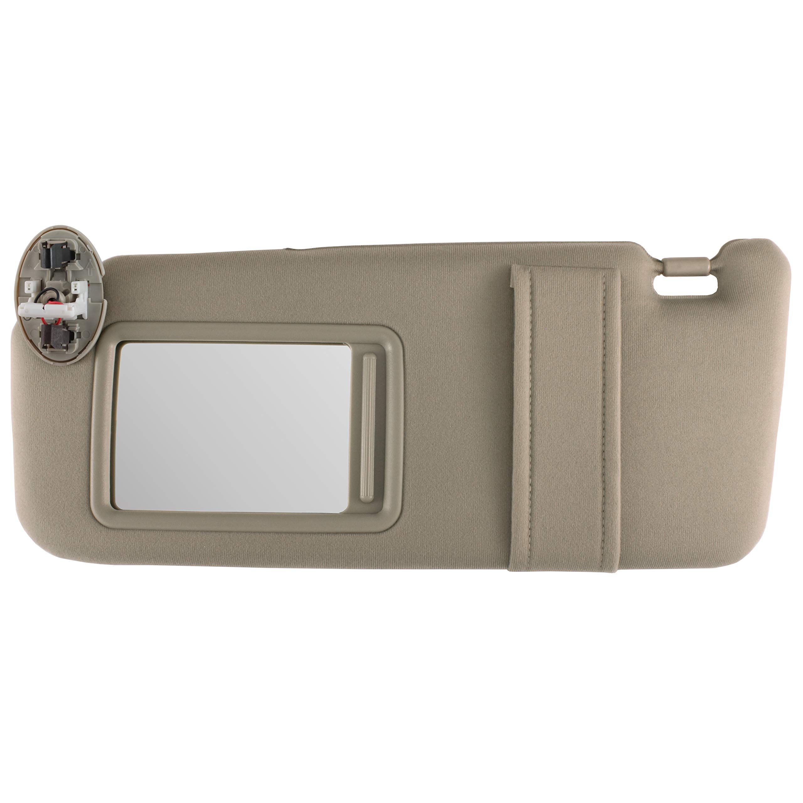 IAMAUTO 10735 New Sun Visor Left Driver Side Tan for 2007 2008 2009 2010 2011 Toyota Camry with Sunroof and Light