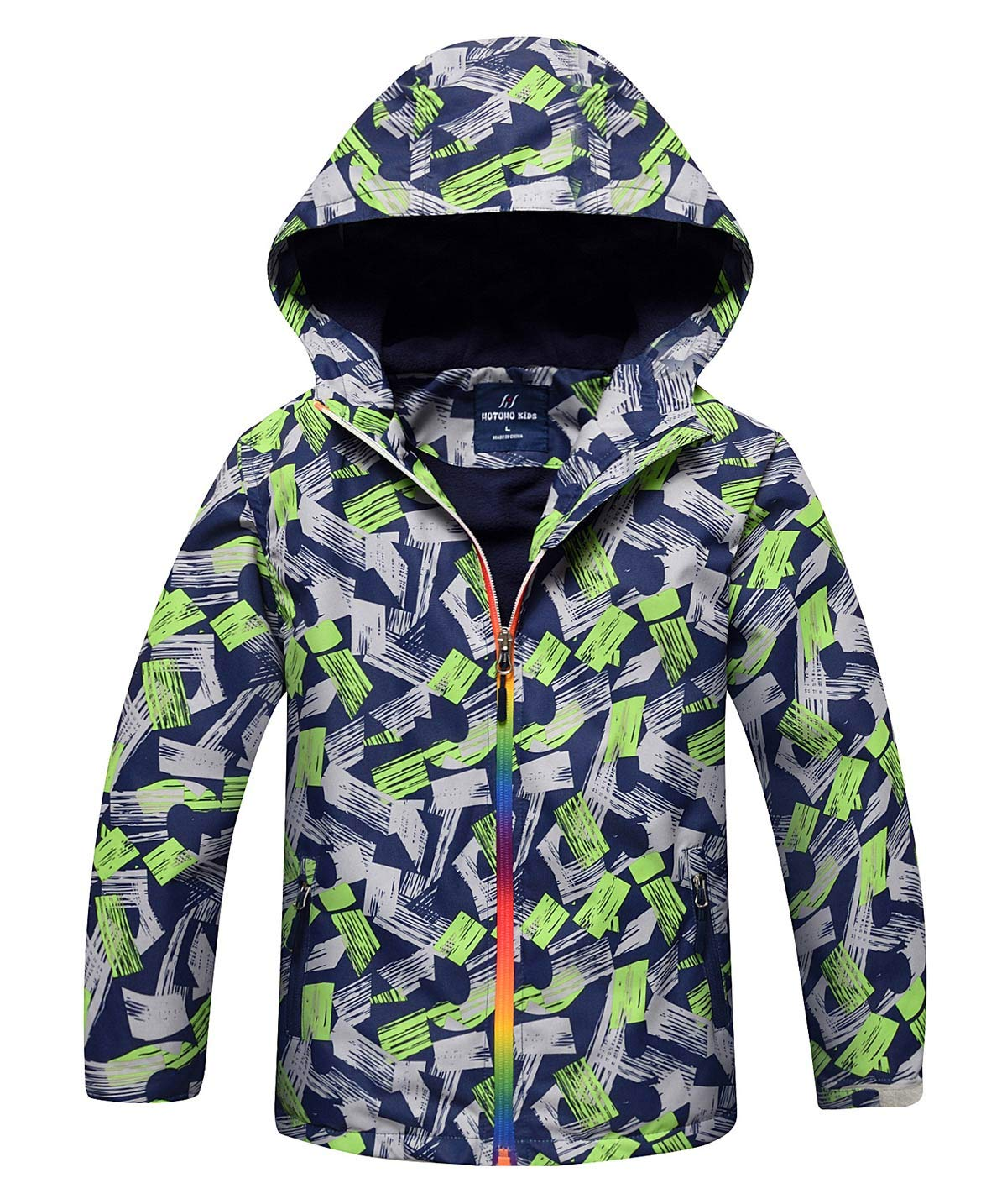 HUTUHU Latest Boys Fleece Hooded Jacket Warm Quilted Coat Outdoor Jacket - Gray S