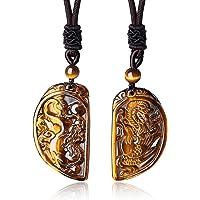 COAI® Collar de Pareja de Colgante Piedra Ojo de Tigre Dragón y Fénix 2 Piezas