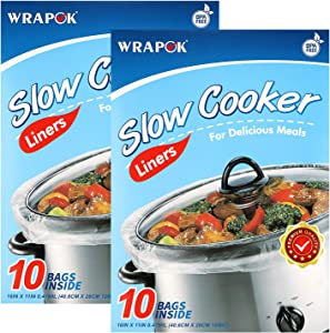 WRAPOK Slow Cooker Liners Kitchen Disposable Cooking Bags BPA Free for Oval or Round Pot, Small Size 11 x 16 Inch, Fits 1 to 3 Quarts - 2 Pack (20 Bags Total)