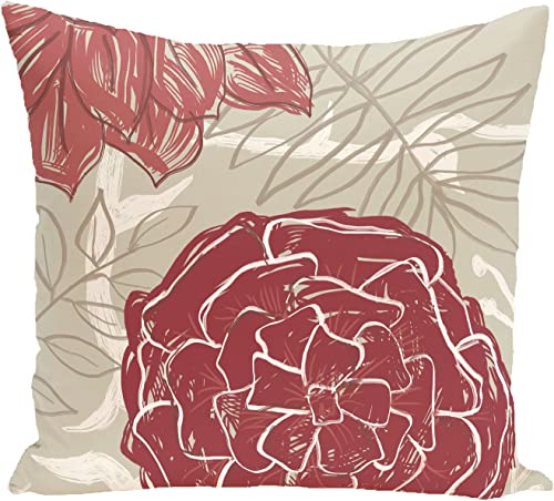 Ebydesign Flowers and Fronds Floral Print Pillow, Brick