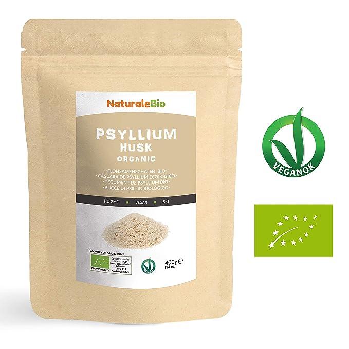 Cáscara de Psyllium Ecológico [99% Pureza] 400g | Psyllium Husk, Natural y Puro | 100% cutícula de semillas de Psilio Orgánico, producido en ...