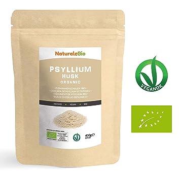 Cáscara de Psyllium Ecológico [99% Pureza] 400g | Psyllium Husk, Natural y Puro | 100% cutícula de semillas de Psilio Orgánico, producido en India. ...